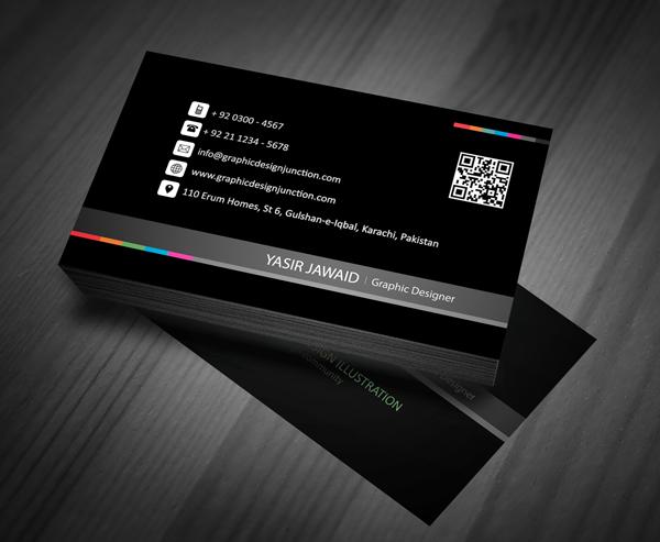 Creative business card mockup front black