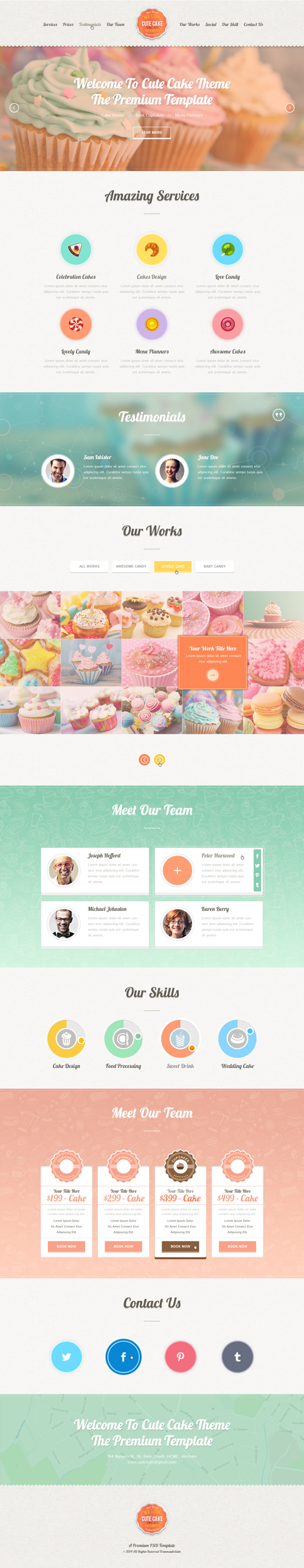Cute Cake - One Page PSD Template