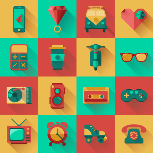 Free Flat Hipster Icons Design Pack (16 Icons)