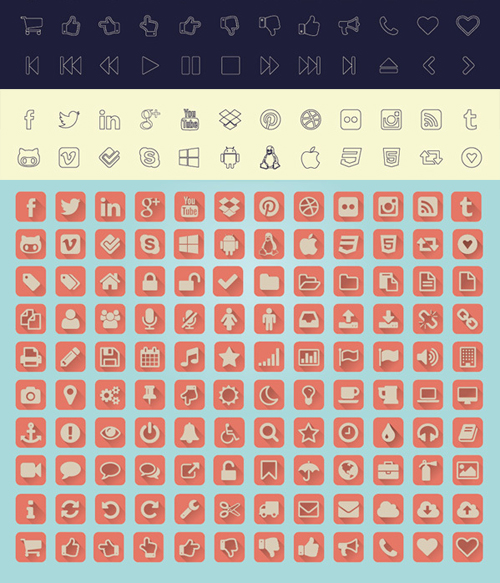 Vector Icons (4 different style) Set (120 Icons)