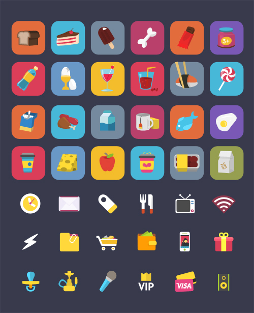 Free Set Colorful Ficons Icons (42+ Icons)