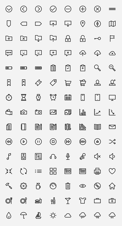Outlined Icons PSD AI SVG Webfont (150 Icons)