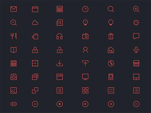 Thin Icons PSD Set (48 Icons)