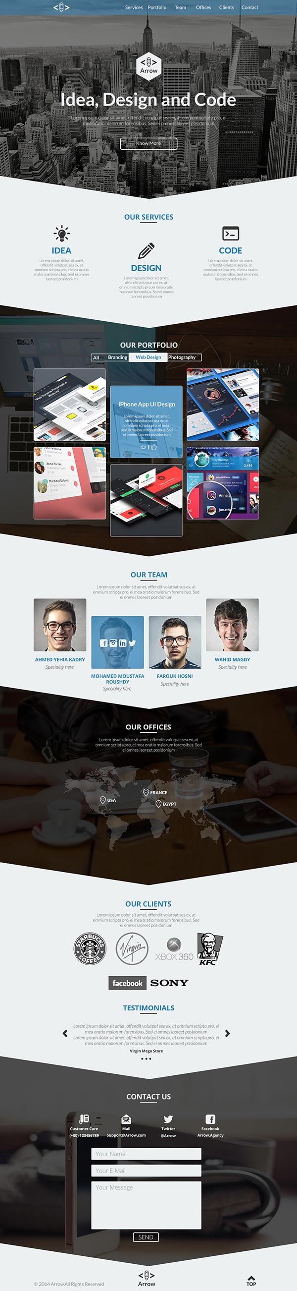 Arrow - Free One Page Business Portfolio PSD Template