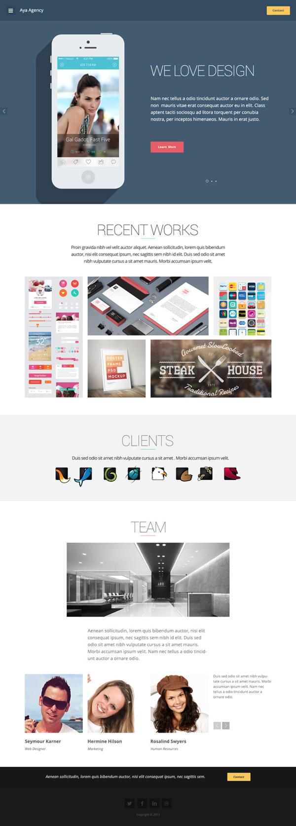 Aya - Modern Flat One Page PSD Template