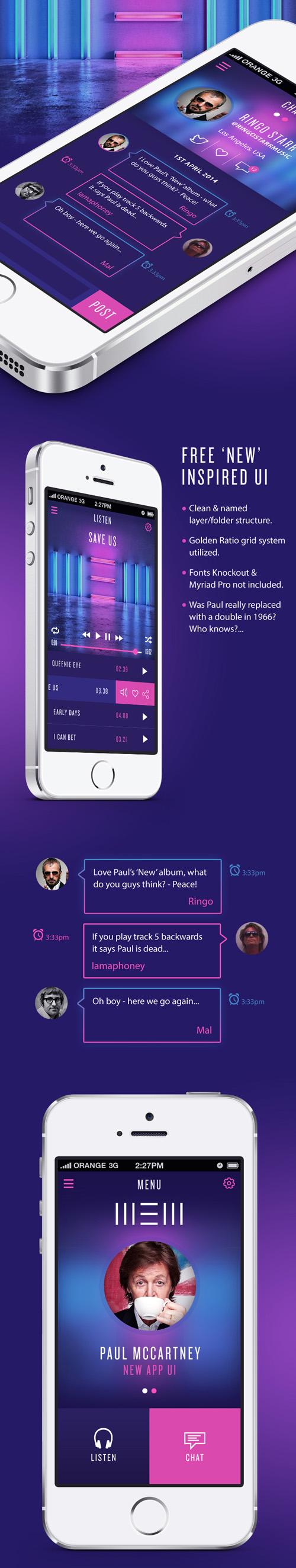 Paul McCartney 'New' inspired Free app UI PSD