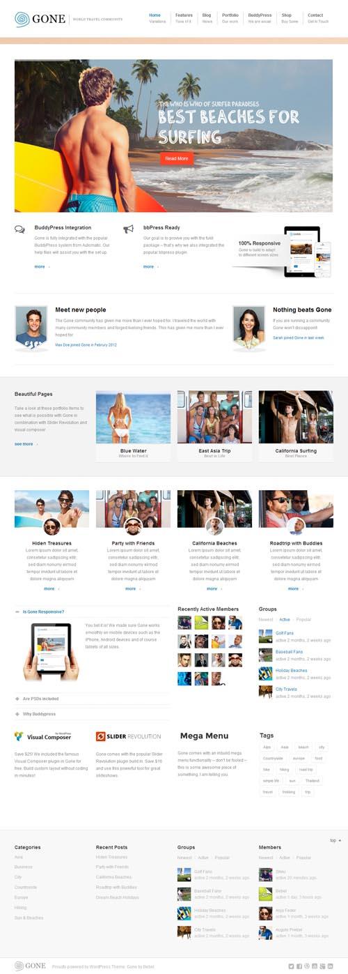 Gone - BuddyPress & WordPress Theme