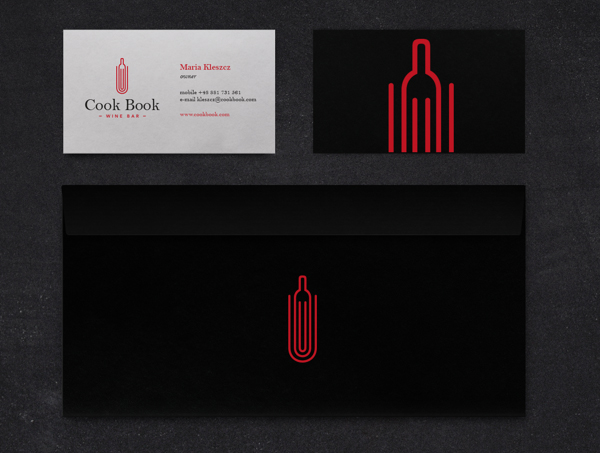 Cook Book Wine Bar Branding Business Card