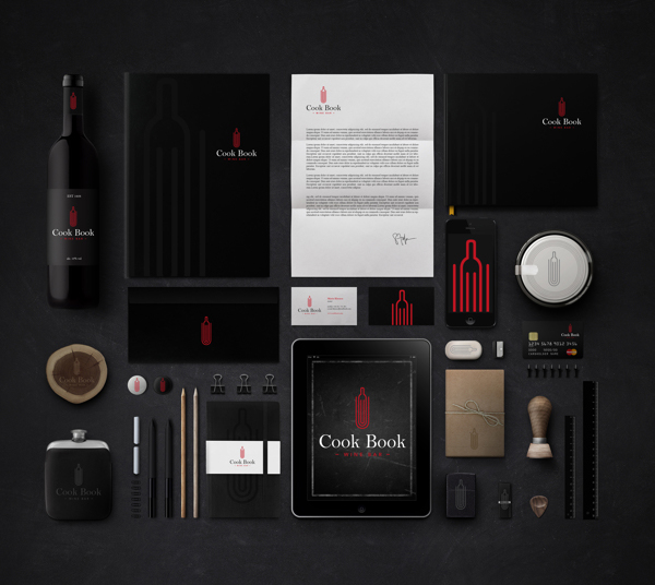 Cook Book Wine Bar Branding Stationery