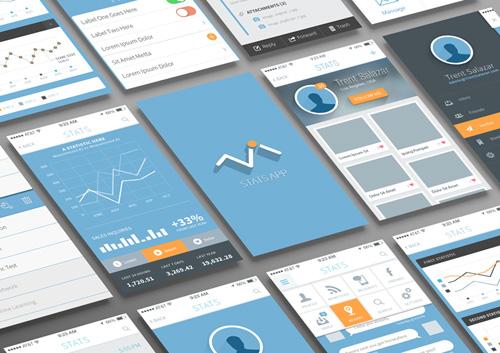 Free Statistics and Analysis App UI PSD files