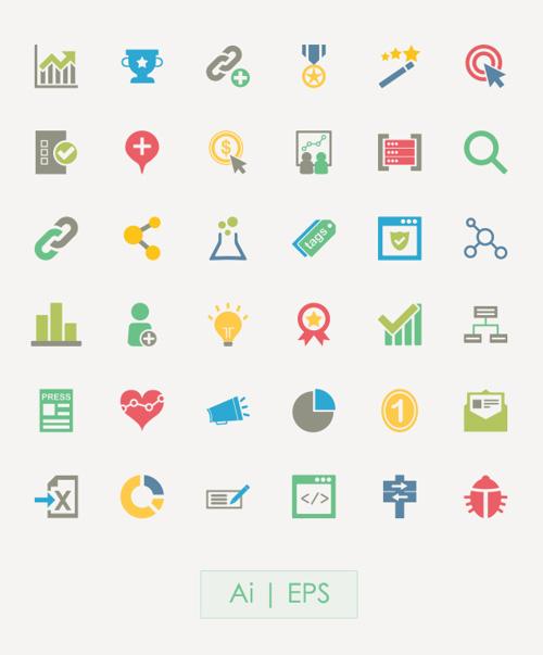SEO Vector Icons PSD files