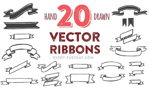 Hand Drawn Vector Ribbons PSD files