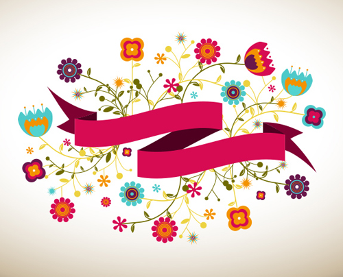 Ribbon Vector Banner With Flowers