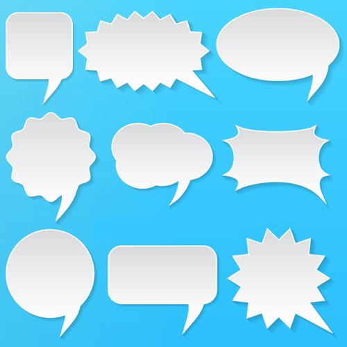 Vector White Speech Bubbles Set