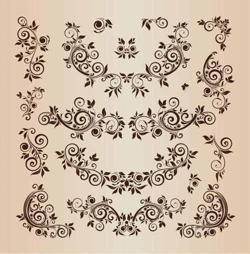Floral Design Elements Vector Illustration Set