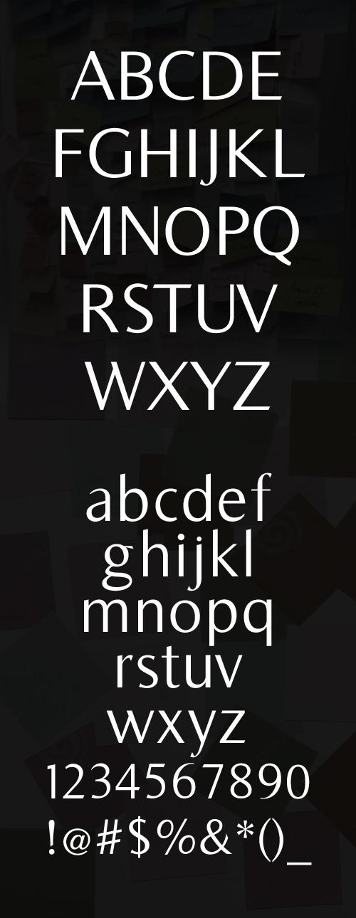 Bearings font glyphs