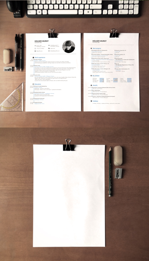CV Mockup - Simple DinA4 on desk