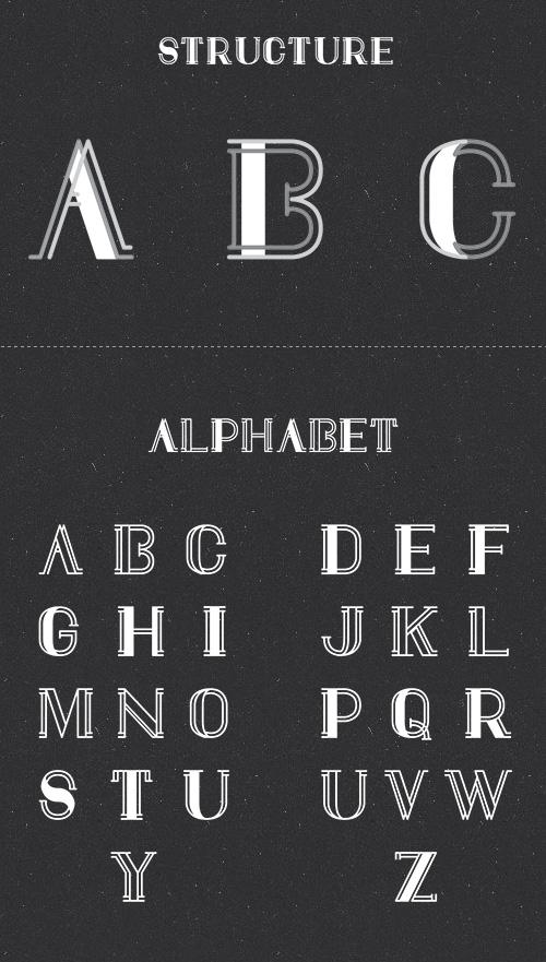 Draft Display free font characters
