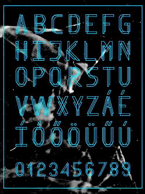 Finity font glyphs