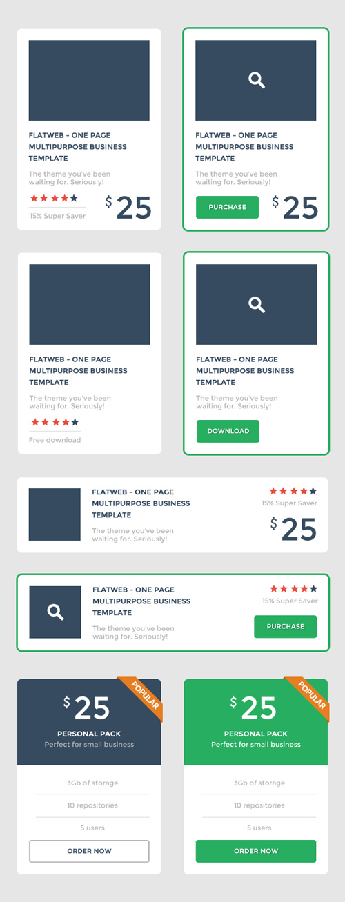 Set of Flat UI Promo Blocks