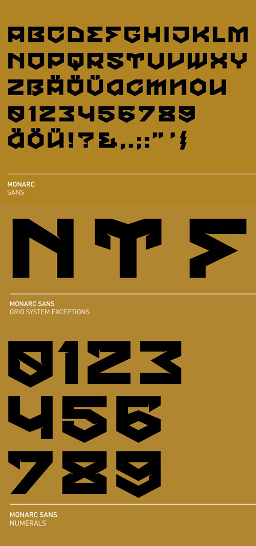 MONARC font glyphs