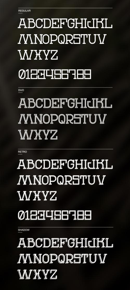 REN Typeface font glyphs