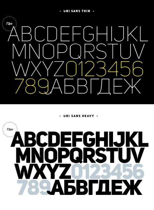 Uni Sans font glyphs