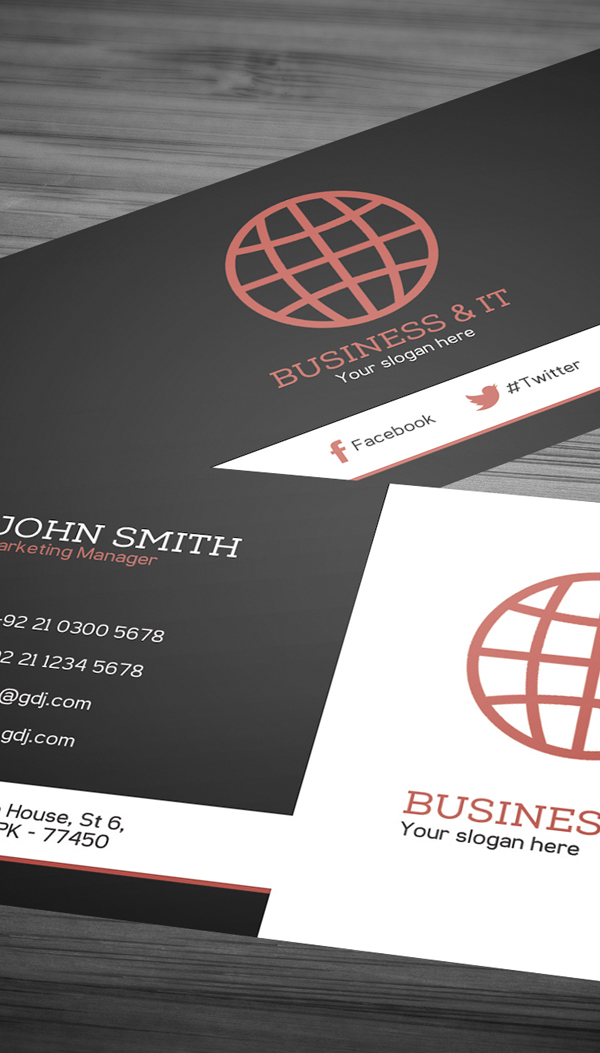 Corporate Business Card Template PSD -  2