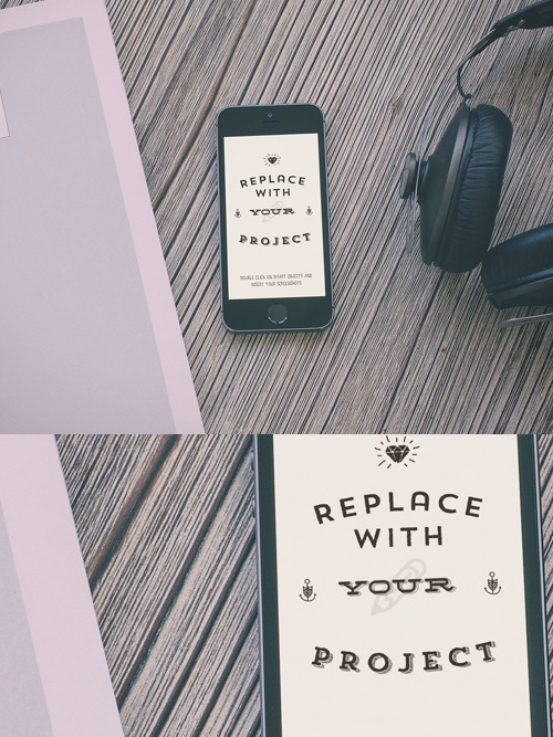 Free Hipster Style iPhone Mockup Template