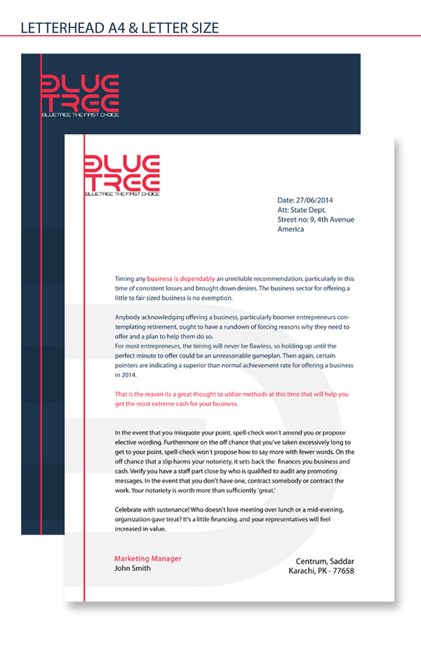 letterhead A4 and Letter Size