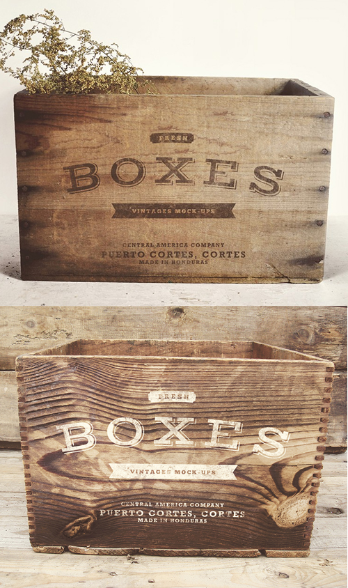 Vintage Boxes Mock-up