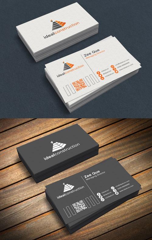 Black & White Business Card PSD Mock-ups