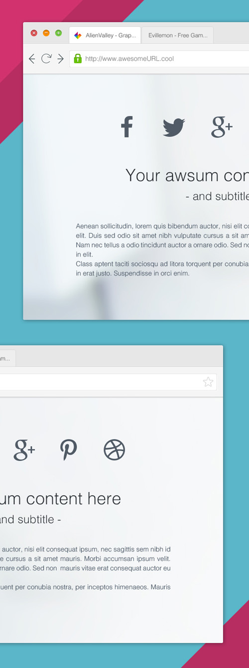 Clean Browser PSD Mock-ups
