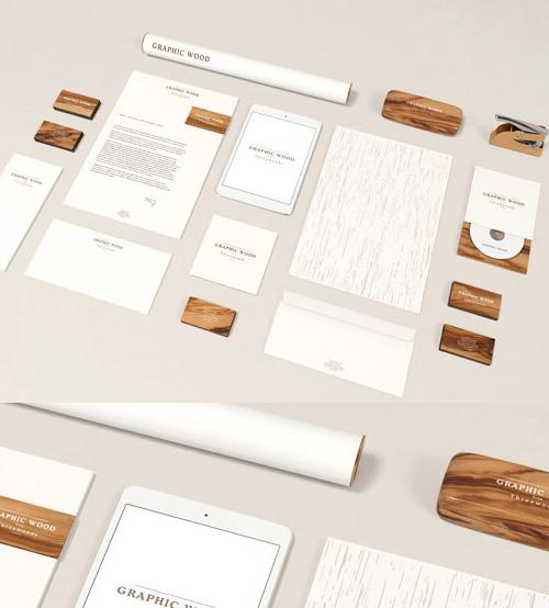 Free Branding Wood Style PSD Mock-ups