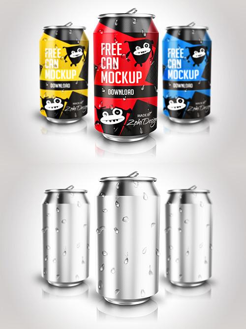 Free Soda Can PSD Mock-ups