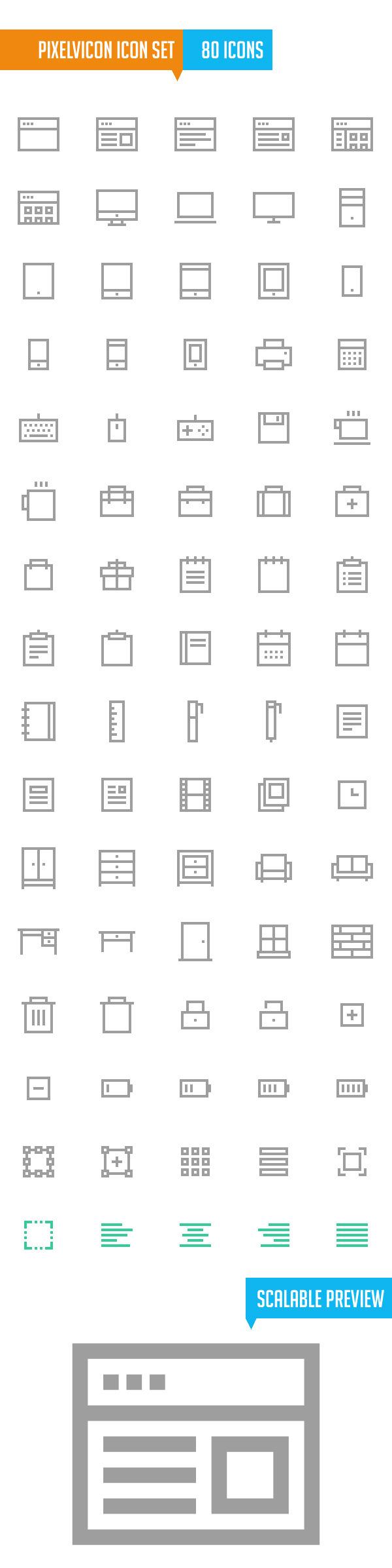 Pixelvicon Icon Set (80 Icons)