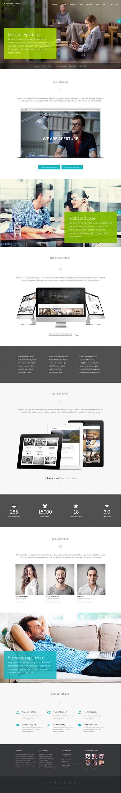 Aperture - Full Featured WordPress Theme
