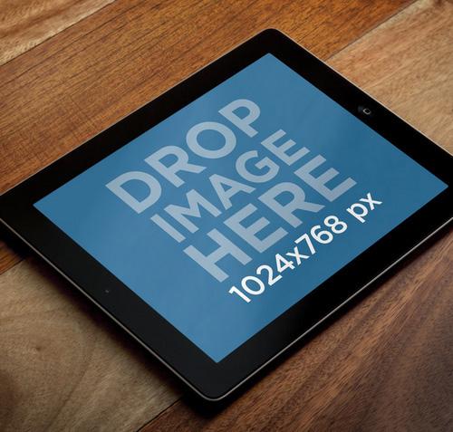 iPad Mini Over Wooden Table PSD Mock-ups