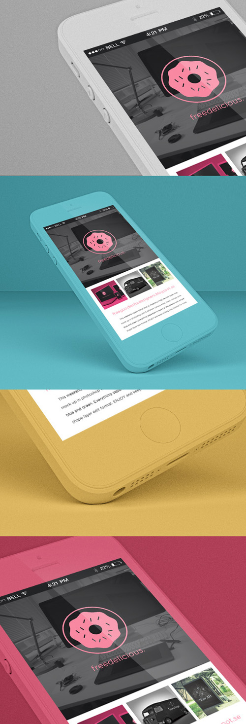 iPhone 5S Colorful PSD Mock-ups
