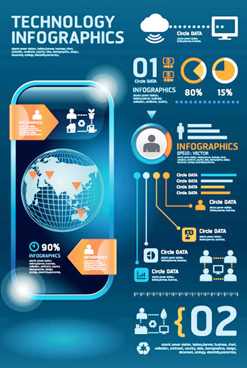 Infographic and Mobile Diagram Vector Graphics