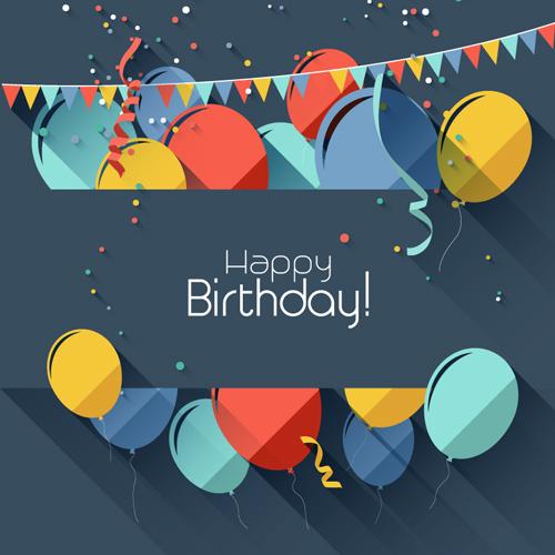 Happy Birthday Ribbons Balloons Vector Graphics
