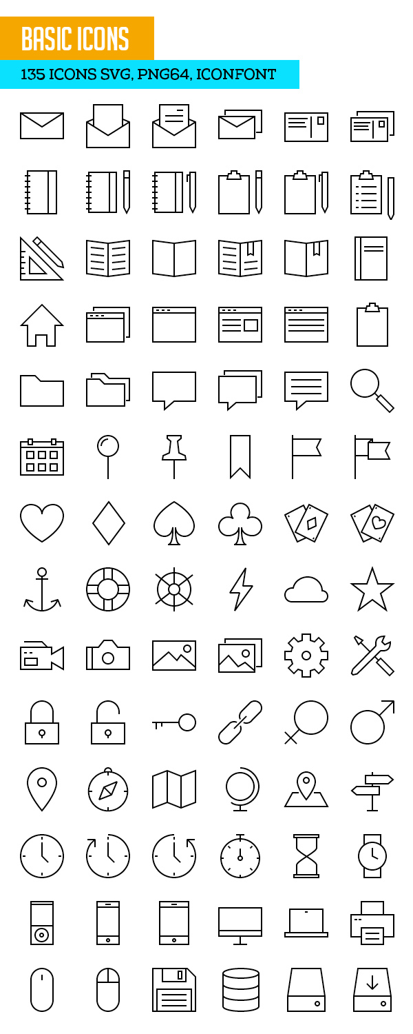 Basic Icons SVG PNG Icon Font