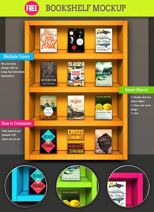 Colorful Bookshelf Mockup