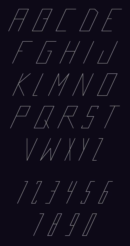Futrista free font letters