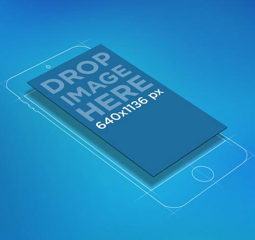 Illustrated iPhone PSD Mockup