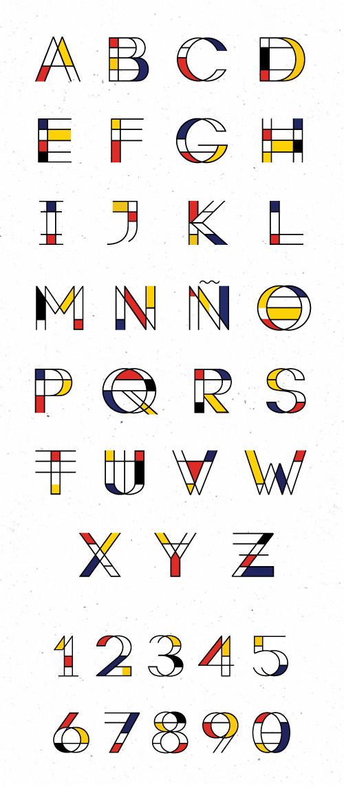 Mondrian free font letters