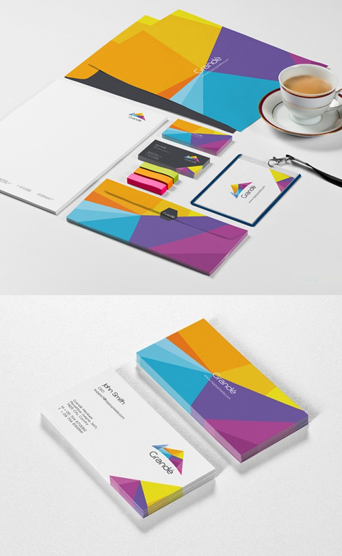 Free Photorealistic Stationery Branding PSD Mockups