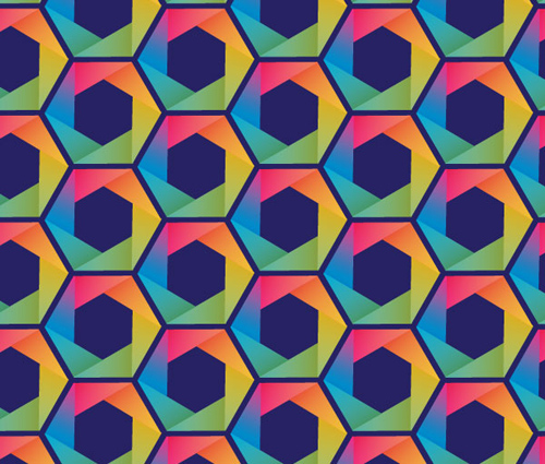 Create a Folded Paper Style Rainbow Hexagon Pattern Vector in Adobe Illustrator
