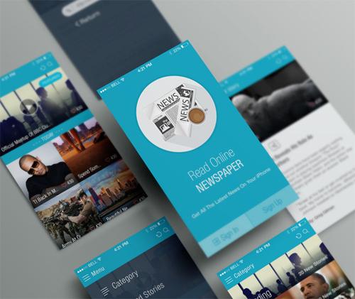 Online News Paper iOS APP UI - Free PSD