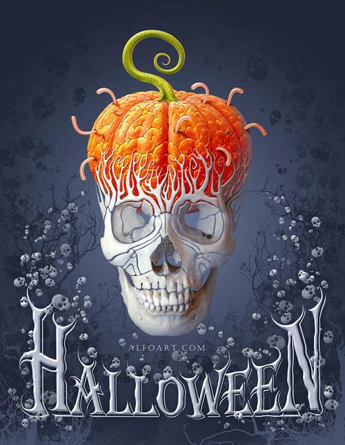 Create Creepy Skull Halloween with the Pumpkin Brains Effect in Photoshop
